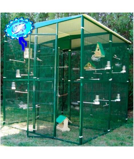 Voladero pajarera  jardin para loros 4 m2 (2*2 m) partido al centro 054015
