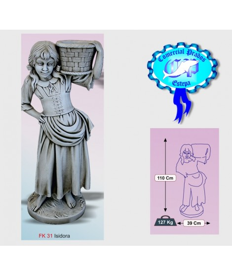 Figura de jardin Isidora fabricada en piedra artificial