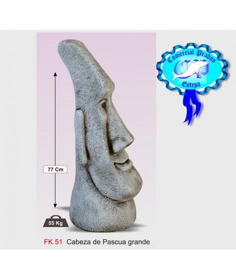 Figura de jardin cabeza de pascua grande fabricada en piedra artificial