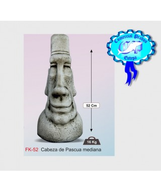 Figura de jardin cabeza de pascua mediana fabricada en piedra artificial