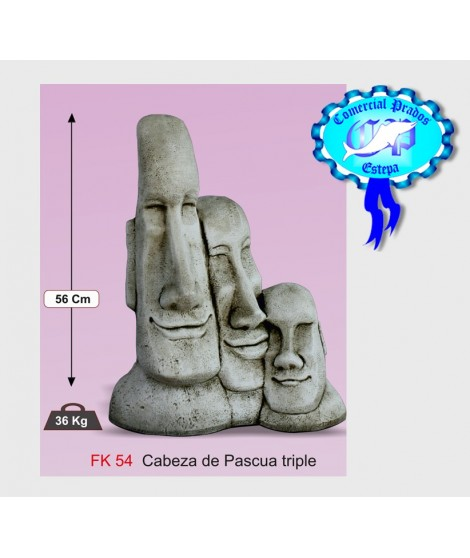 Figura de jardin cabeza de pascua triple fabricada en piedra artificial