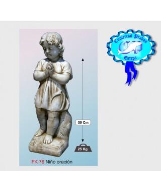 Figura de jardin Niño oración fabricada en piedra artificial