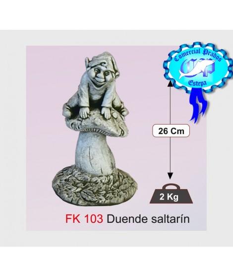 Figura de jardin duende saltarin fabricada en piedra artificial