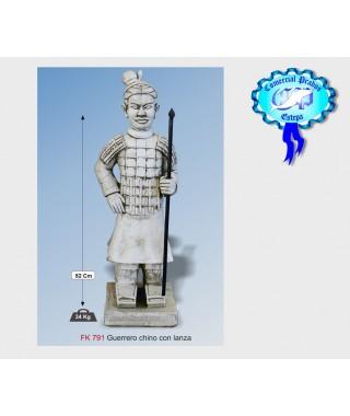 Figura de jardin guerrero chino fabricada en piedra artificial