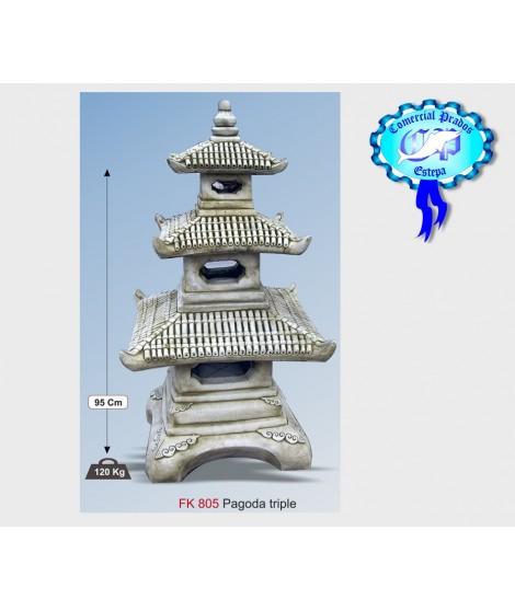Figura de jardin pagoda triple fabricada en piedra artificial
