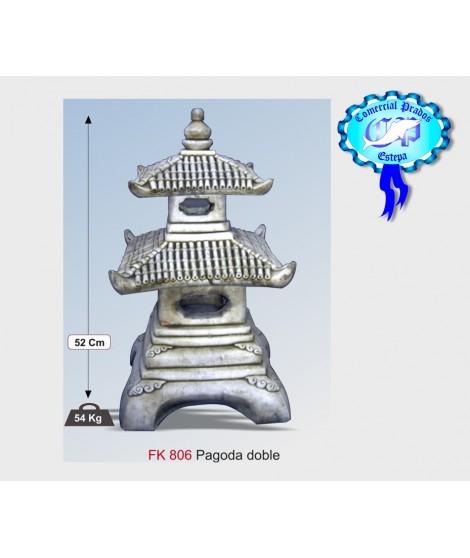 Figura de jardin pagoda doble fabricada en piedra artificial