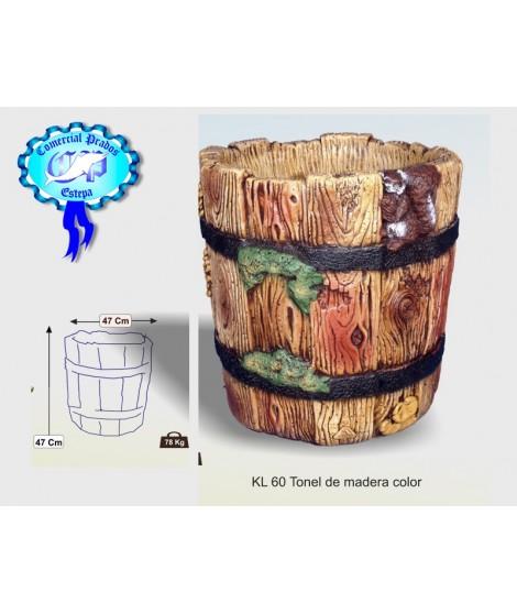 Jardinera tonel de madera color