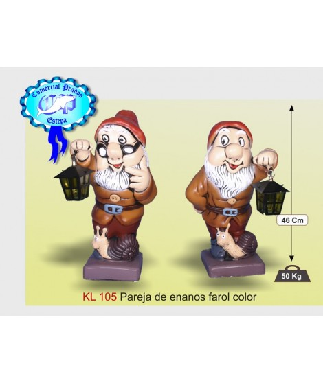 Estatua pareja de enanos con farol color