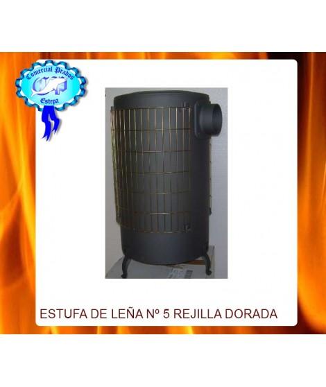 Estufa leña nº 5 PINTADA NEGRA - REJILLA DORADA