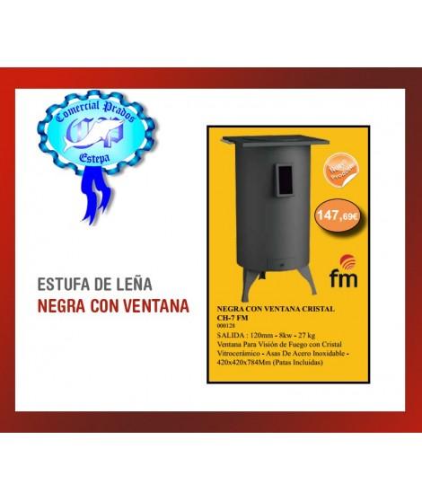 ESTUFA DE LEÑA NEGRA CON VENTANA CRISTAL CH-7 FM 8kw