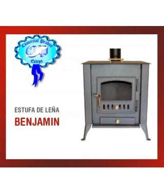 ESTUFA DE LEÑA BENJAMIN CON HORNO SALIDA 120MM 10Kw