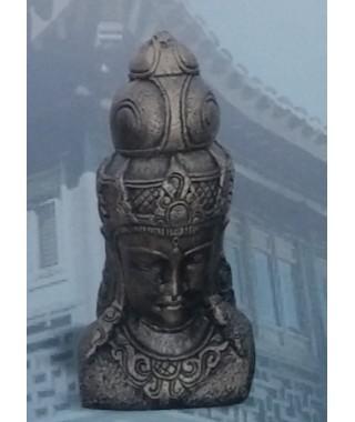 Figura de Cabeza Oriental de Buda Metálico
