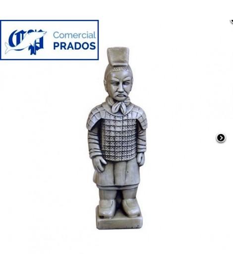 Figura de jardin guerrero de xian fabricada en piedra artificial