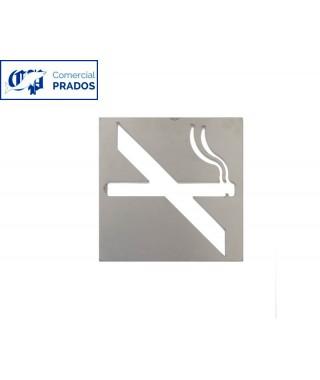 Pictograma jami prohibido fumar. inox.