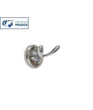 Percha doble. acero inox. acabado brillo.