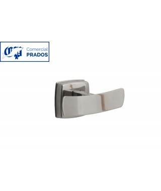 Percha doble. inox. brillo.