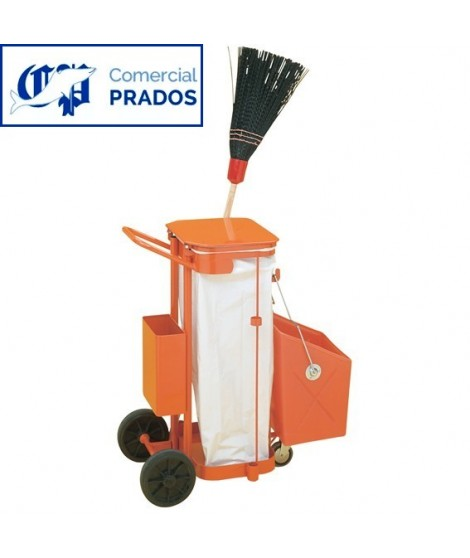 Carro de limpieza equipado con cubeta porta útiles