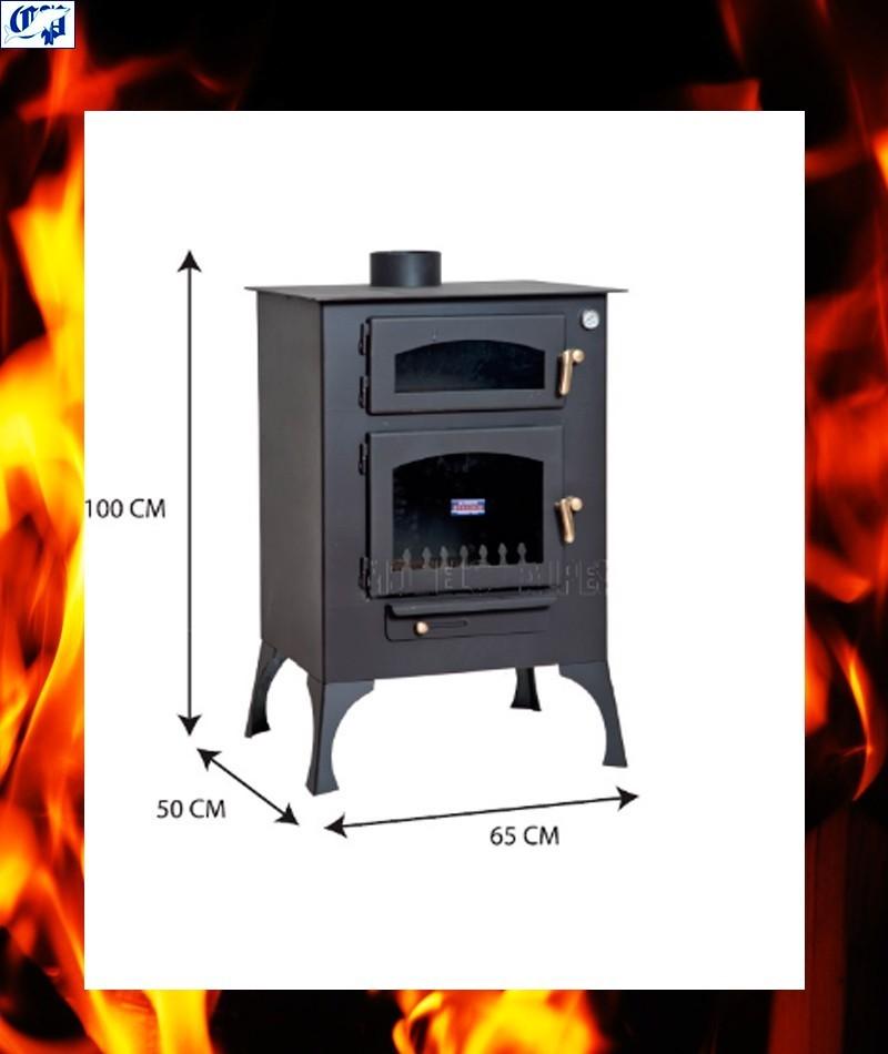 Estufa chimenea vista de le a con horno mod e ibiza - Chimeneas para hornos de lena ...