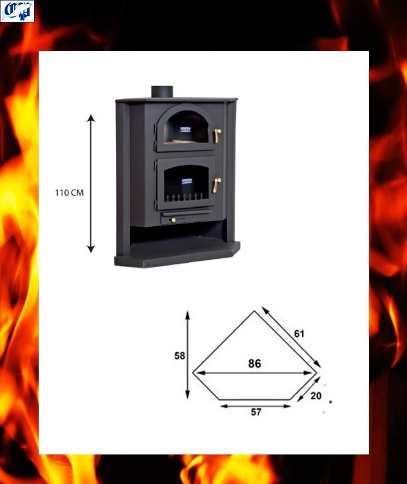 Estufa chimenea vista de le a con horno modelo mulhacen - Chimenea con horno de lena ...