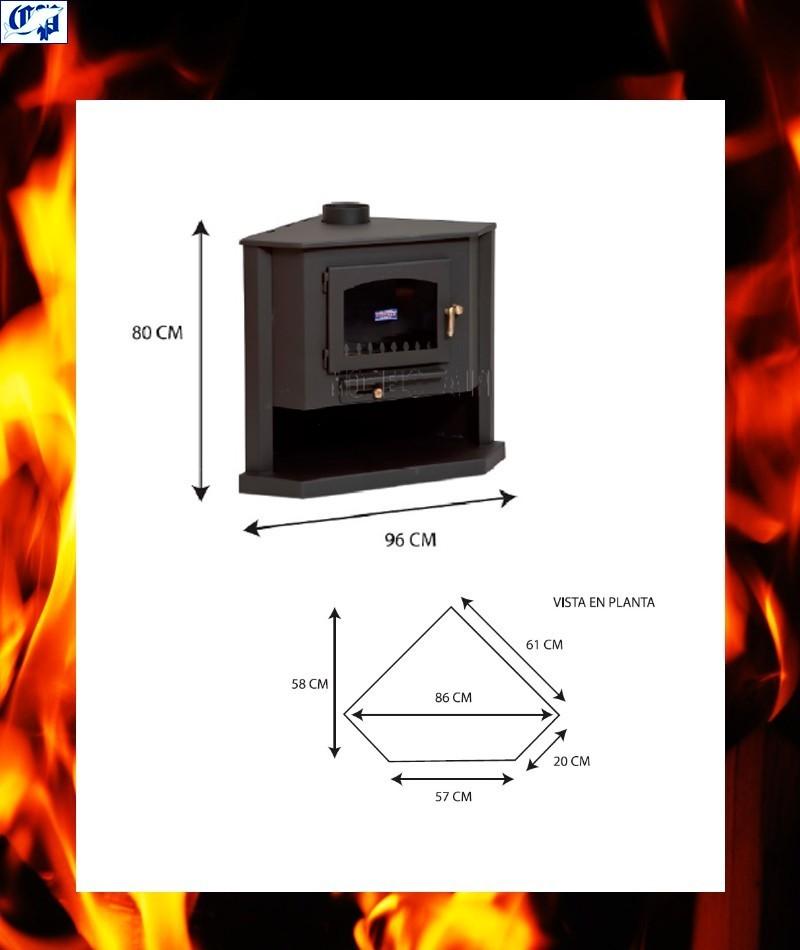 Estufa chimenea vista de le a frontal con horno modelo - Calefaccion con chimenea de lena ...