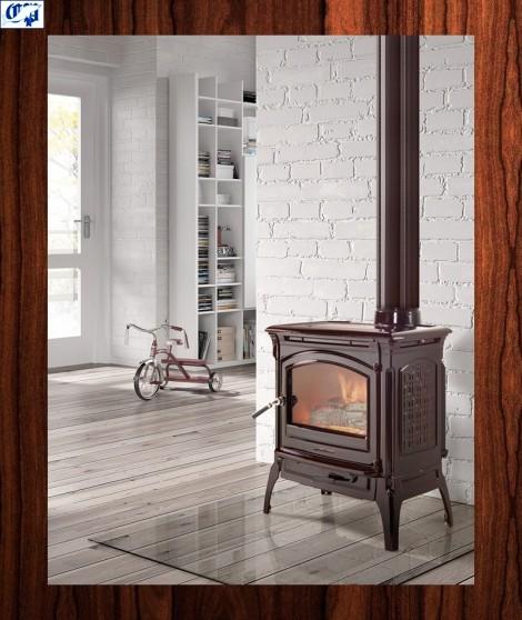 Estufa de leña CRAFTSBURY esmaltada marrón - 2078110 - HERGOM
