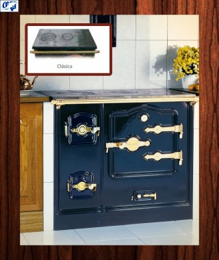 Cocina serie T/BILBAO mod.9 leña Encimera clásica Latón Hergom