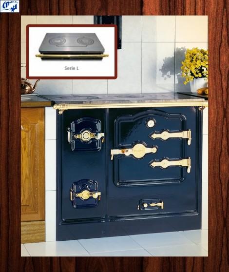 Cocina serie T/BILBAO mod.7 leña Encimera vitrocerámica 55 cm. Fondo Hergom