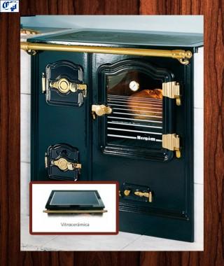 Cocina puerta de cristal serie T/BILBAO mod.7 leña Encimera vitrocerámica practicable Hergom