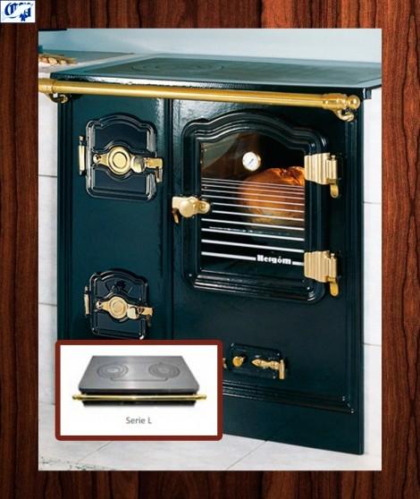 Cocina puerta de cristal serie T/BILBAO mod.8 leña Encimera vitrocerámica 55 cm. Fondo Hergom