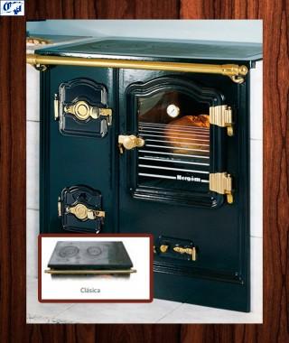 Cocina puerta de cristal serie T/BILBAO mod.9 leña Encimera clásica Hergom