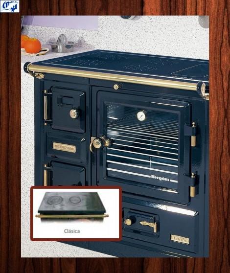 Cocina puerta de cristal serie TBN mod.8 leña Encimera clásica Hergom