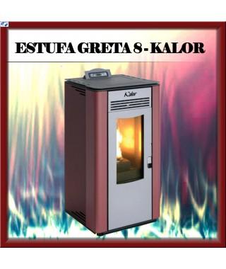 ESTUFA PELLETS DE ALTA EFICIENCIA MOD. GRETA 8 BLANCA  KALOR