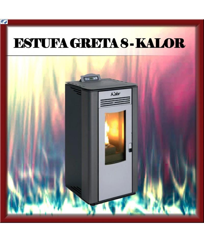 Estufa chimenea pellets mod greta 8 kalor color negro for Estufa profesional