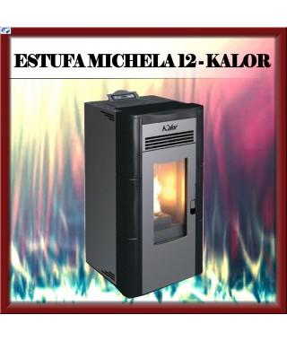 Estufa - chimenea pellets mod. MICHELA 12 KALOR, color negro
