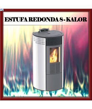 Estufa pellets mod.REDONDA 8 KALOR, color blanco
