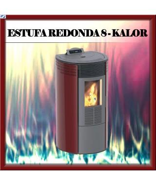 Estufa pellets mod.REDONDA 8 KALOR, color burdeos