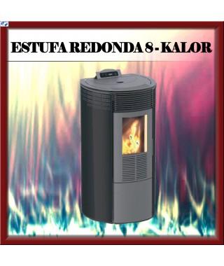 Estufa pellets mod.REDONDA 8 KALOR, color negro