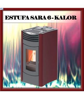 Estufa pellets mod.SARA 6 KALOR, color burdeos