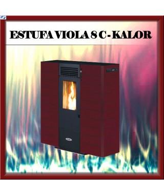 Estufa pellets canalizable mod VIOLA 8 C KALOR, color burdeos