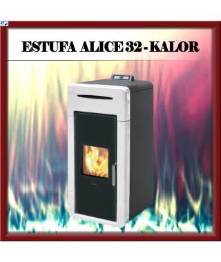 Termo estufa pellets mod ALICE 32 KALOR, color blanco