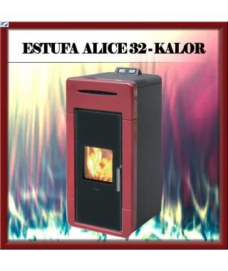 Termo estufa vista pellets mod. ALICE 32 KALOR, color burdeos