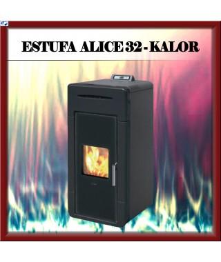Temo estufa - chimenea pellets mod. ALICE 32 KALOR, color negro