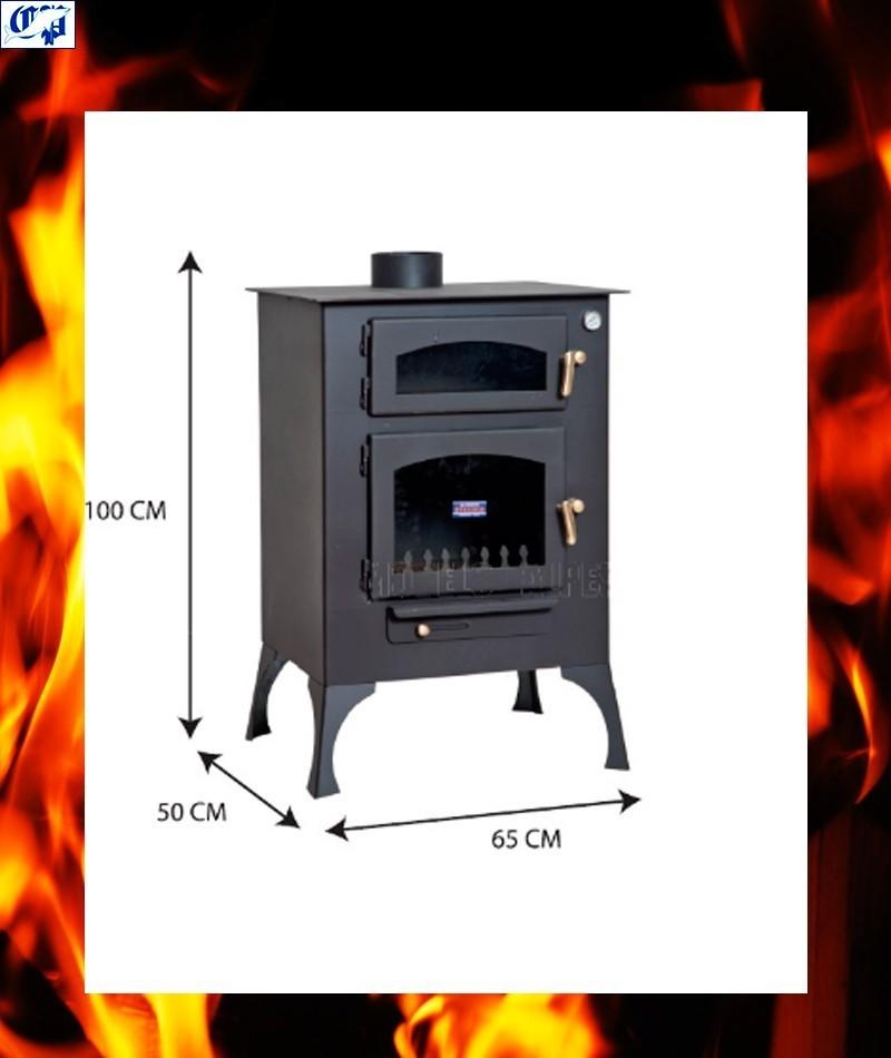 Estufa chimenea vista de le a con horno mod e ibiza r - Estufas con horno de lena ...