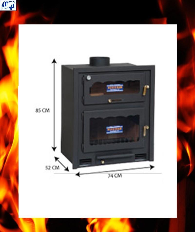 Estufa chimenea vista de le a con horno de obra modelo - Chimeneas para hornos de lena ...